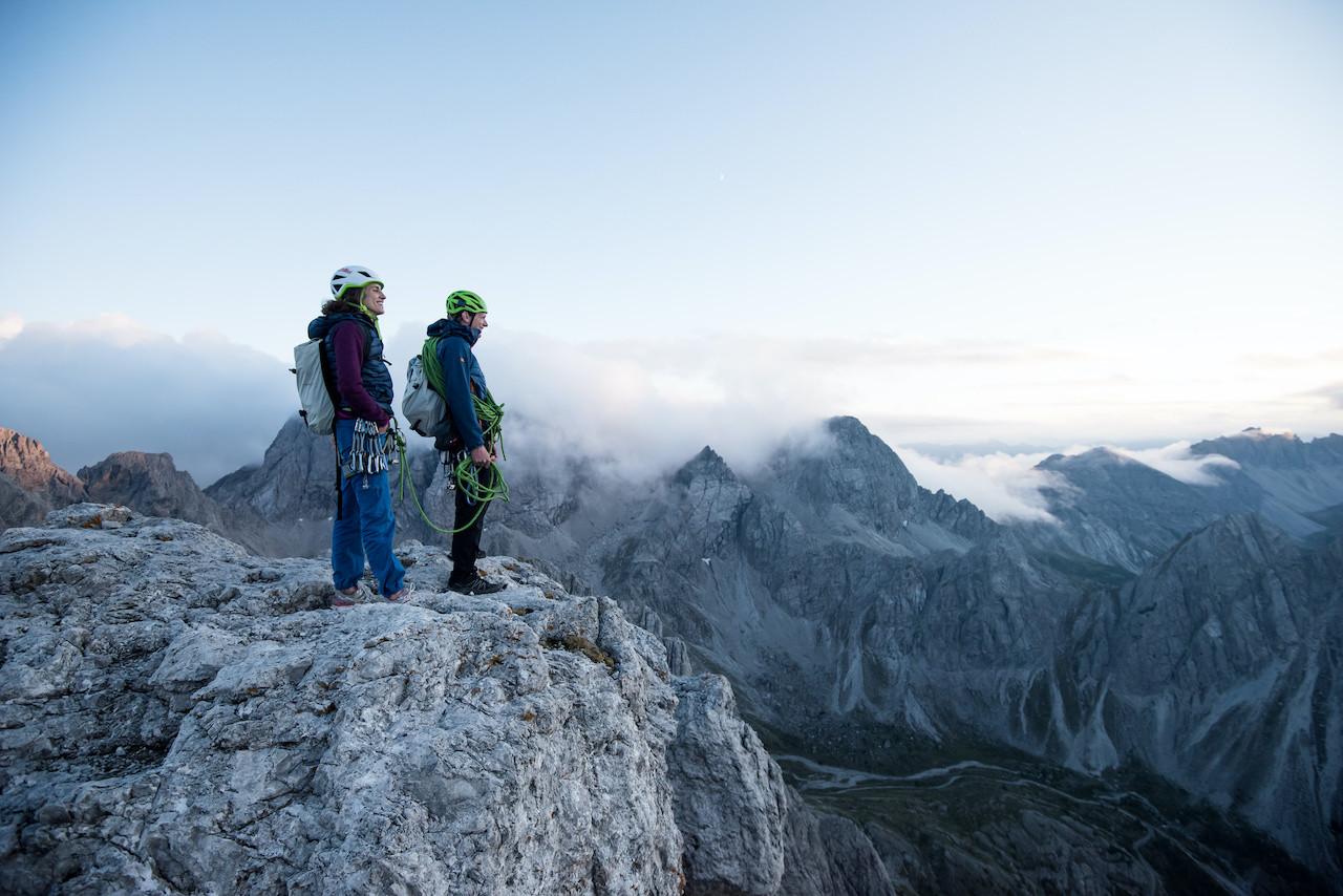 Alpines Klettern, Alpenrautekamin, Lienzer Dolomiten, Mehrseillänge