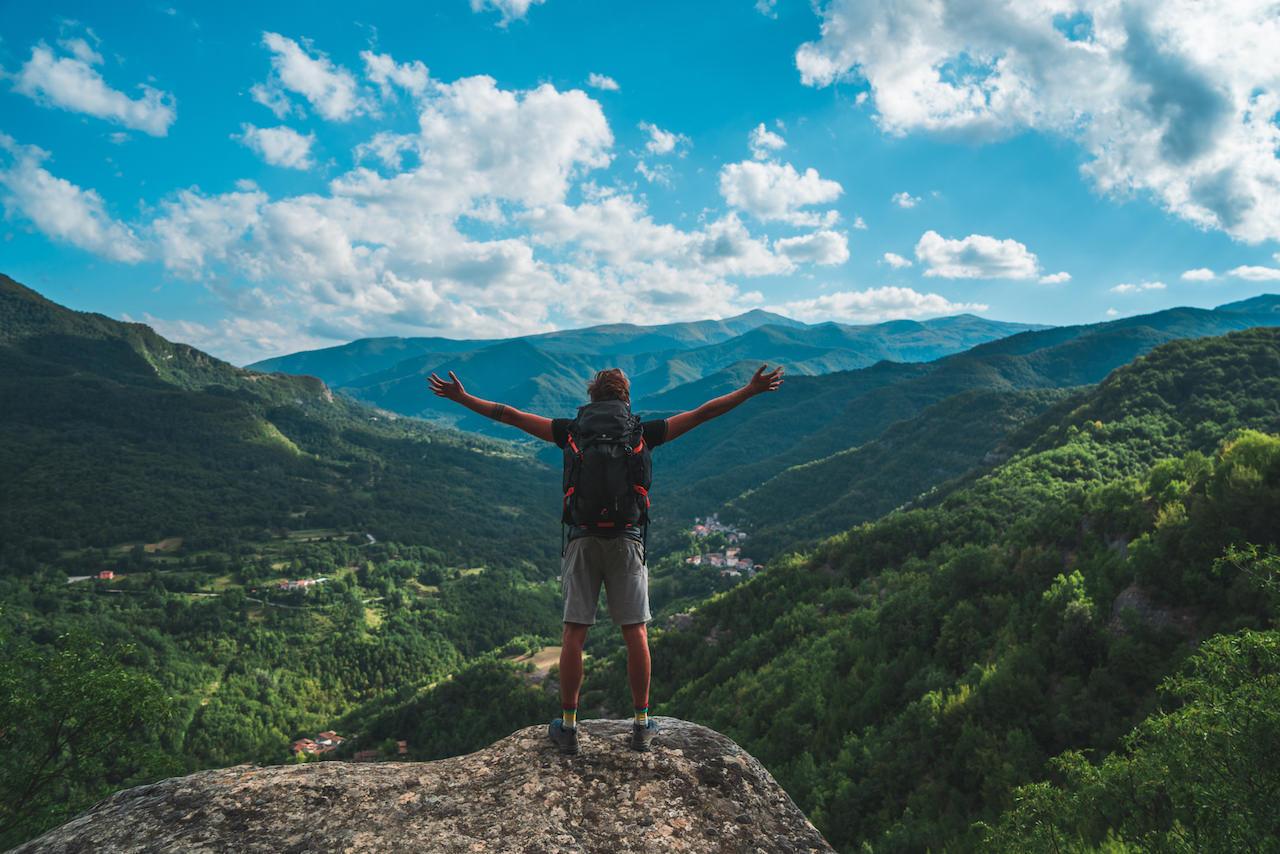 Breathing fully in front of the view of Monti della Laga a park between Abruzzo Marche and Lazio region