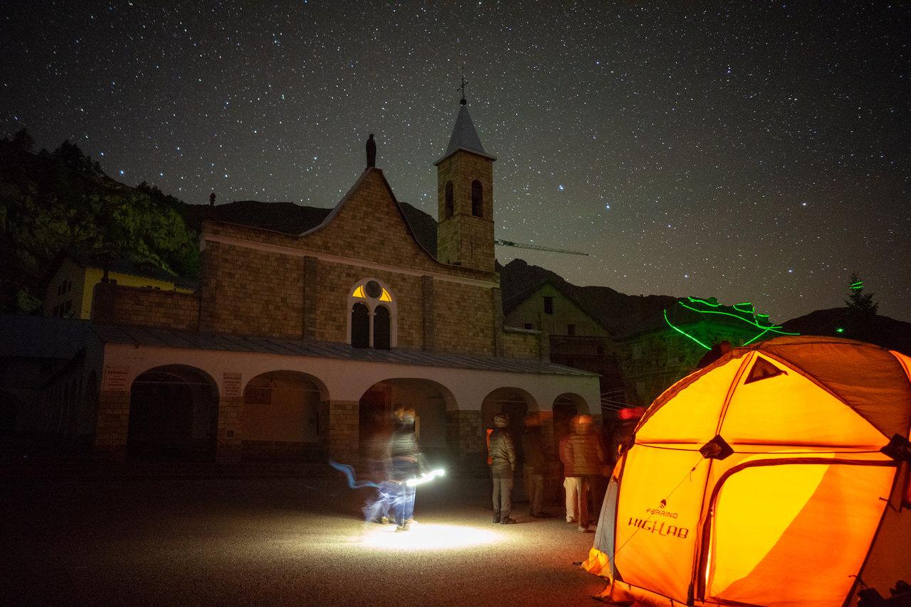 Stars observation with Ferrino tent at Sant_Anna di Vinadio Sanctuary_Piemonte region